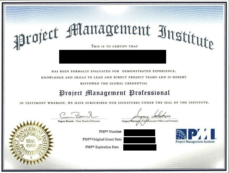 what does the pmp certificate look like