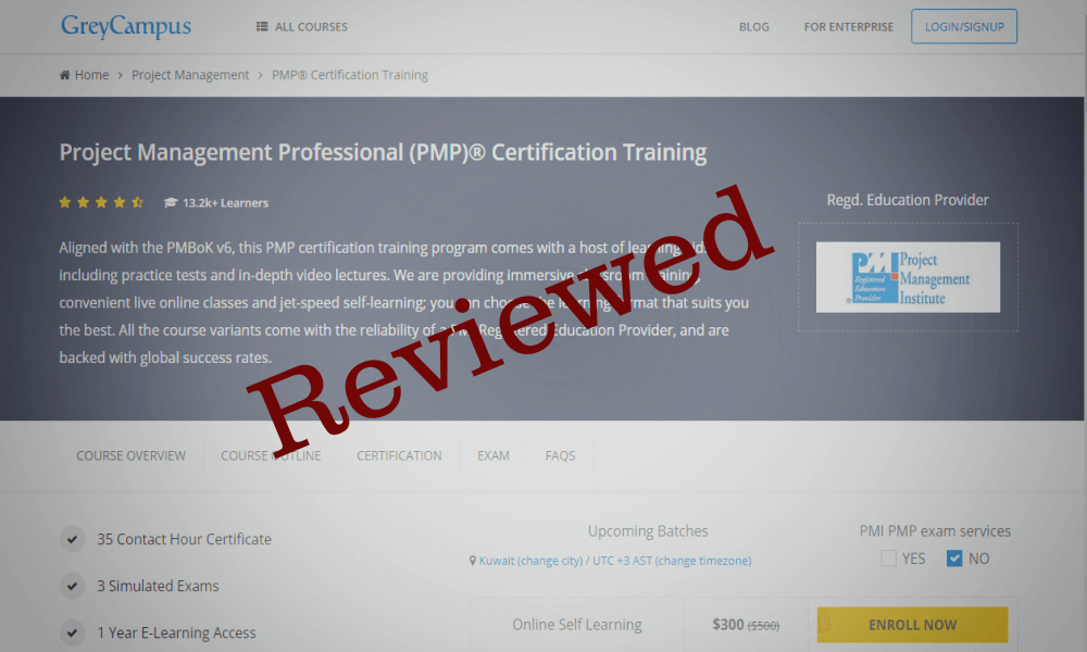 Review Greycampuss Online Pmp Training Program Pmbok 6th Edition
